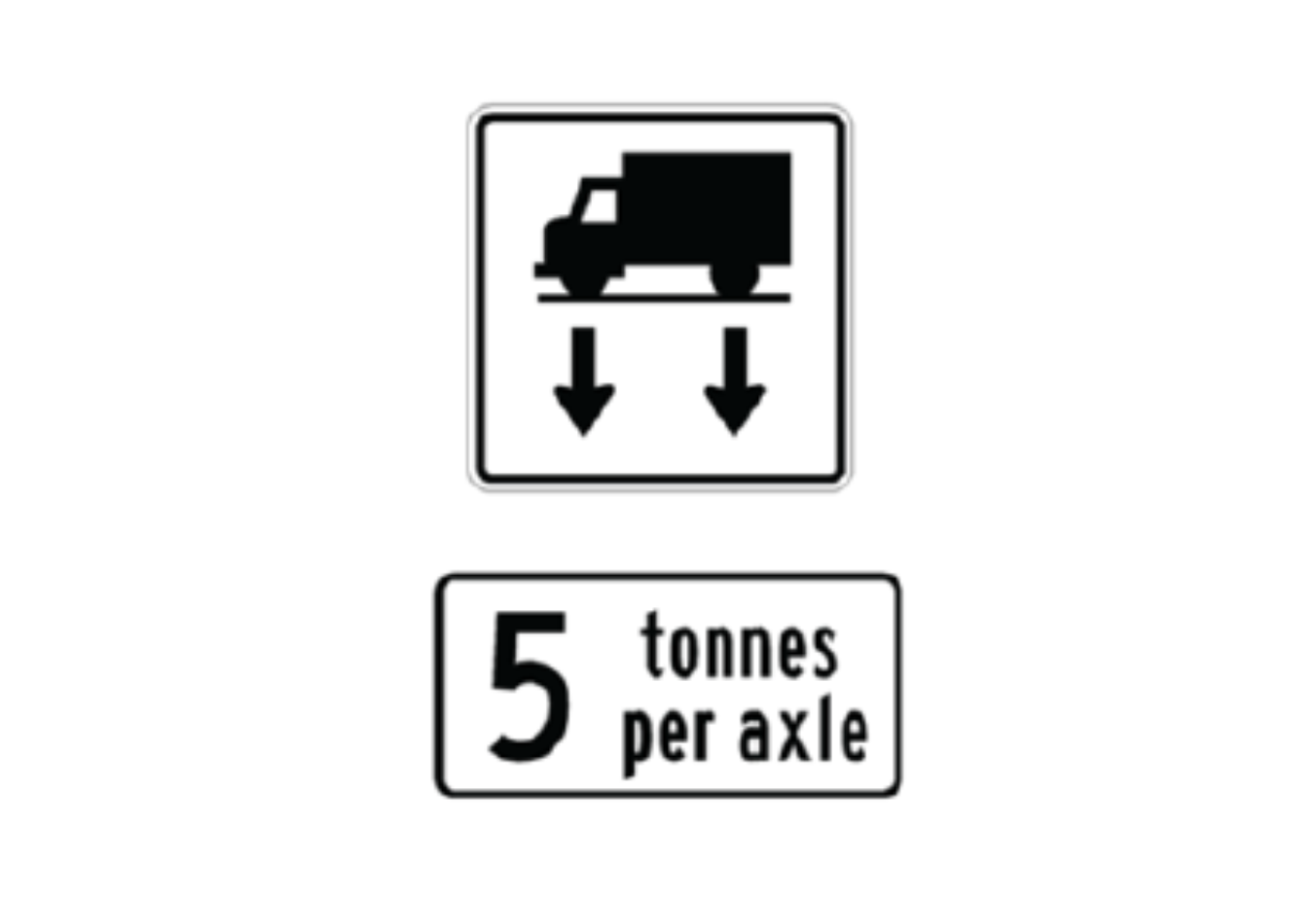5 tonnes per axle sign