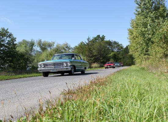 Classic cars on the road